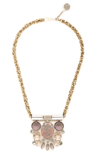 Pink Laurus Necklace by MOUTONCOLLET for Preorder on Moda Operandi