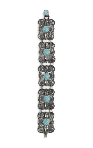 Medium carole tanenbaum turquoise open work pot metal flower bracelet