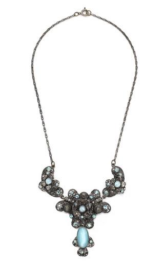 Medium carole tanenbaum turquoise czech fancy filigree necklace