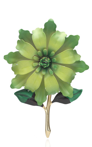 Neon Green Metal Flower Pin by CAROLE TANENBAUM for Preorder on Moda Operandi