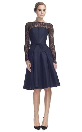 Medium carolina herrera black silk faille strapless dress