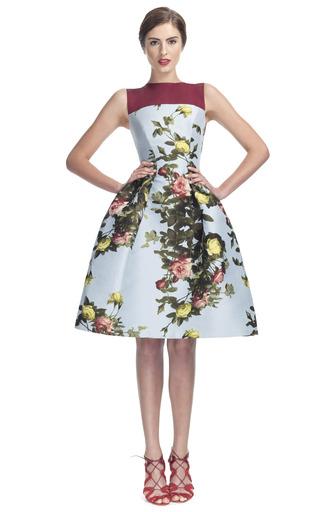 Medium carolina herrera multi rose painting jacquard sleeveless party dress