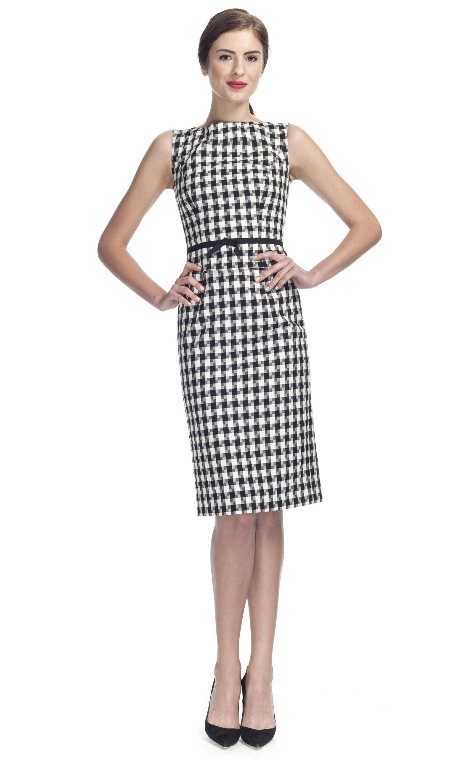 Houndstooth Wool Sleeveless Dress By Carolina Herrera