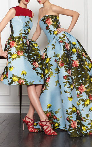 Rose Painting Jacquard Strapless Gown by CAROLINA HERRERA for Preorder on Moda Operandi