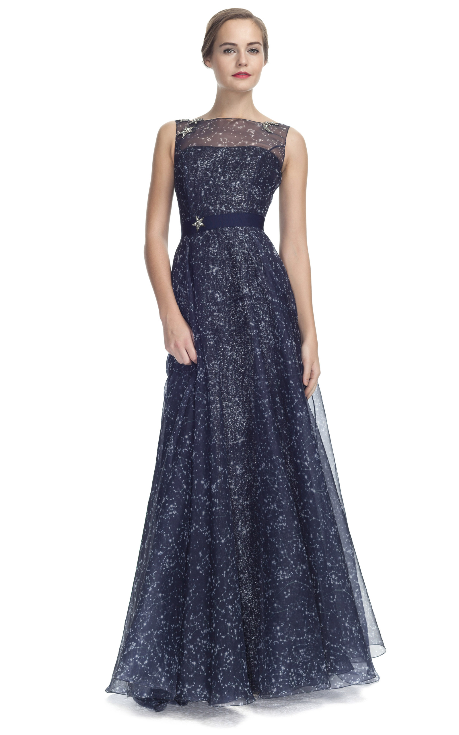 Constellation Organza Sleeveless Gown by Carolina | Moda Operandi