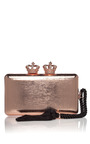 Rose Gold Empire Metallic Minaudiere by SERPUI for Preorder on Moda Operandi