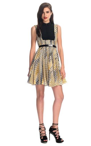Medium jason wu gold combo faux shirt dress with belt