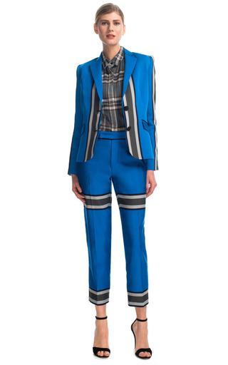 Medium sea blue engineered stripes blazer in royal blue