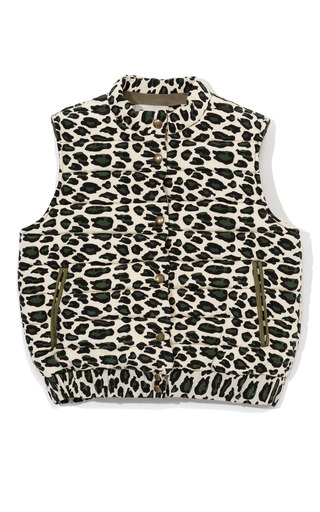 Medium sea print leopard silk puffer vest