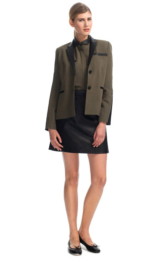 Button Up Blouse With Leather Collar by SEA for Preorder on Moda Operandi