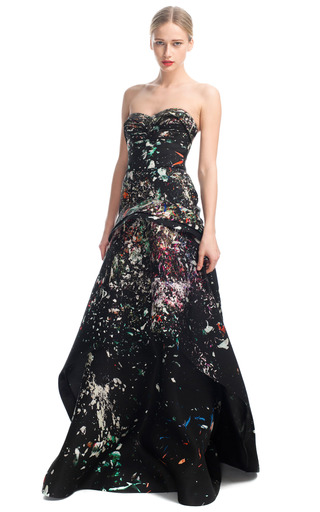 Medium j mendel print strapless bustier gown