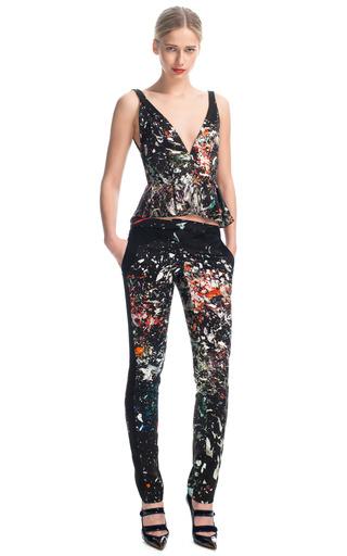 Medium j mendel print printed silk slim trouser