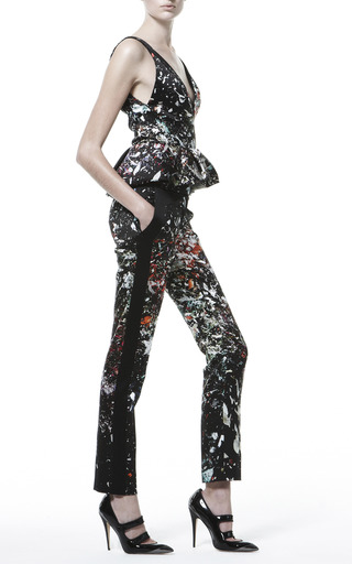 Printed Deep V Peplum Top by J. MENDEL for Preorder on Moda Operandi