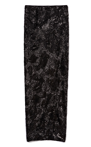Medium donna karan black swirl sequin long scissor skirt