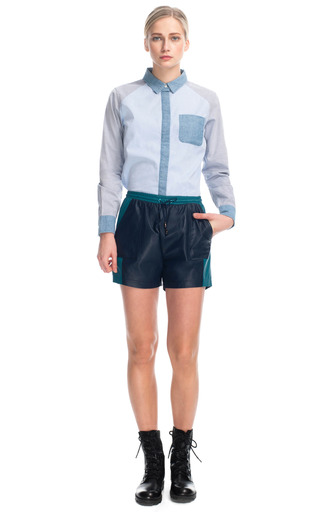 Medium jonathan simkhai navy leather track shorts