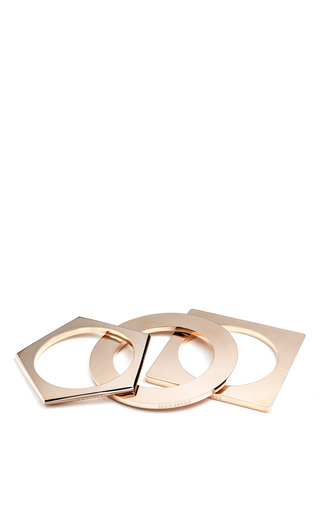 Rose Gold Geometric Bangle by EDDIE BORGO for Preorder on Moda Operandi