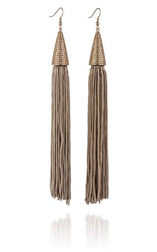 Medium eddie borgo gold taupe pave silk cone tassel earring