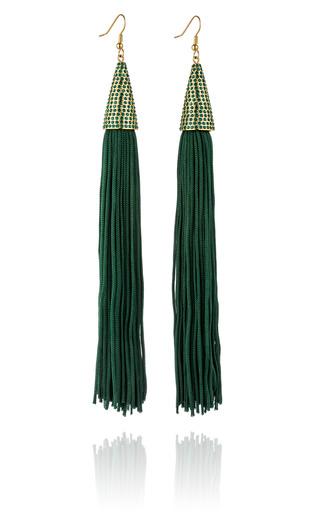 Medium eddie borgo green spruce pave silk cone tassel earring