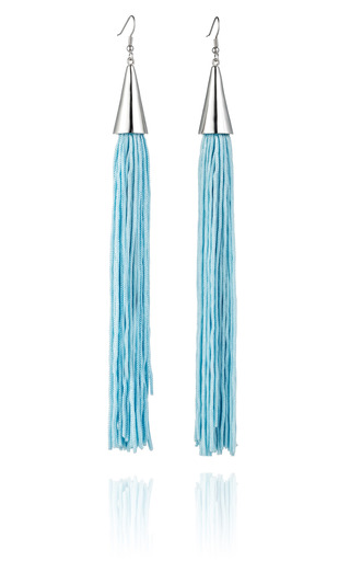 Medium eddie borgo blue light blue silk cone tassel earring
