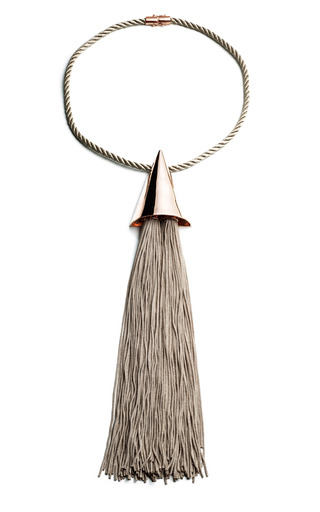 Medium eddie borgo gold taupe extra large silk cone tassel necklace
