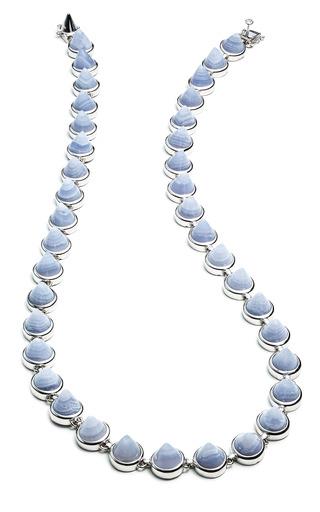 Medium eddie borgo blue silver gemstone small cone necklace