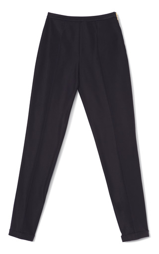 Medium rochas blue cropped faille cuffed pants