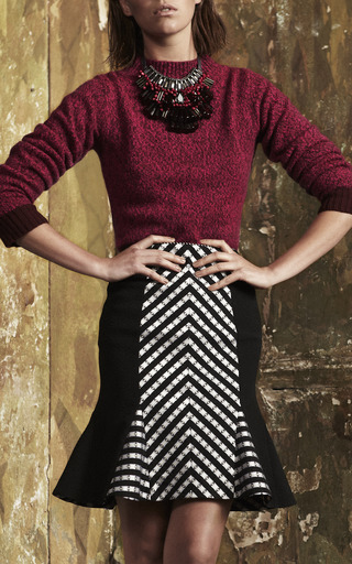 Folk Stripe Godet Pencil Skirt by MATTHEW WILLIAMSON for Preorder on Moda Operandi