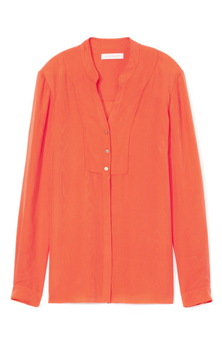 Medium matthew williamson orange fluro orange plain jacquard silk shirt
