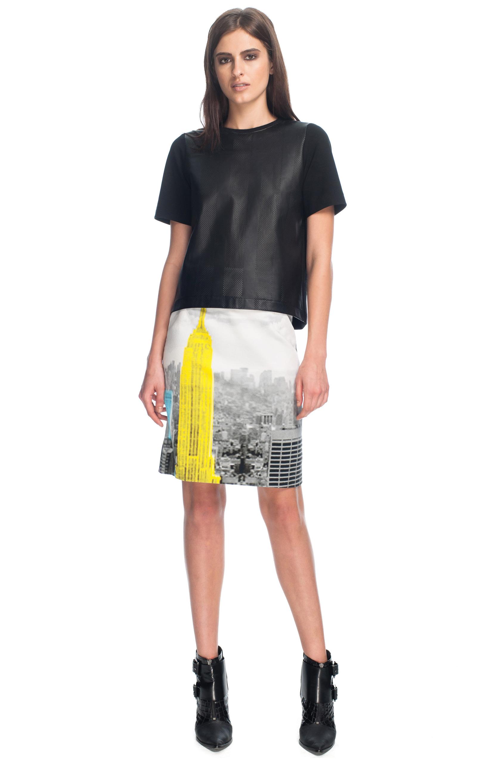 Empire on denim pencil skirt by tibi moda operandi