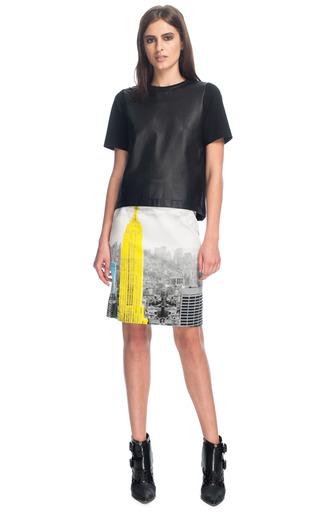 Medium tibi multi empire on denim pencil skirt