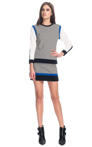 Medium tibi multi jazz stripe knit mini skirt