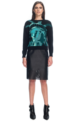 Medium tibi multi lady liberty intarsia easy pullover sweater