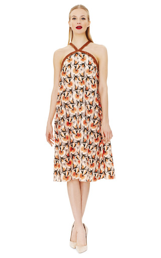 Flower Embroidered A Line Halter Dress by THAKOON Now Available on Moda Operandi