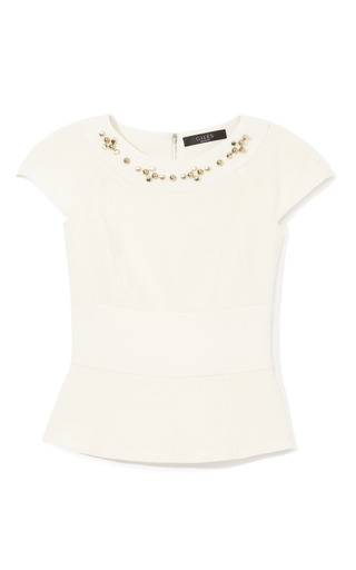 Medium giles white double crepe top with barrel studs