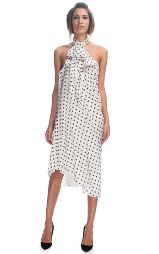 Medium giles white satin stamped polka dot halter dress