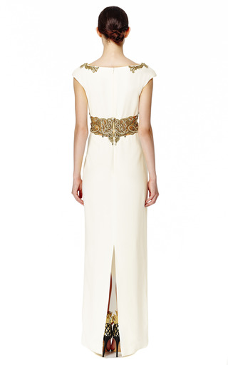 Cap Sleeve Crepe Column Gown by MARCHESA Now Available on Moda Operandi