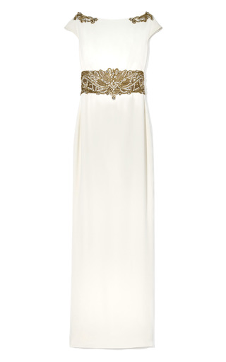 Medium marchesa ivory cap sleeve crepe column gown