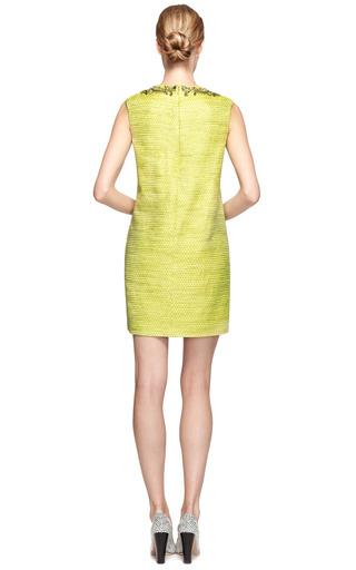 Embellished Metallic Weave Shift Dress by MARCHESA Now Available on Moda Operandi