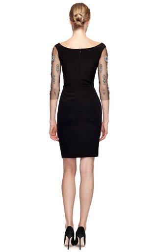 Crepe Sheath Dress With Embroidered Sleeves by MARCHESA Now Available on Moda Operandi