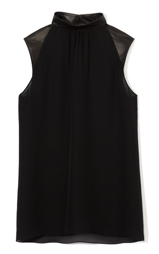 Medium cushnie et ochs black double georgette and leather blouse