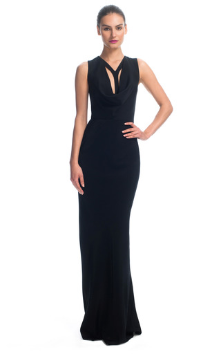 Medium cushnie et ochs black cowl and harness 4 ply silk crepe gown