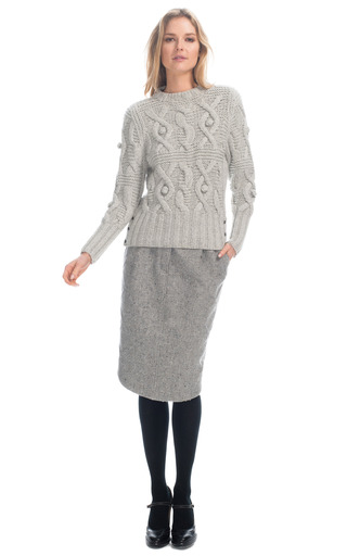 Crewneck Cable Knit Pullover by THOM BROWNE for Preorder on Moda Operandi