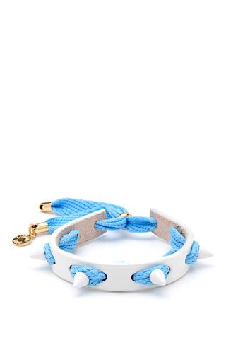 Medium caroline baggi blue studded punky leather shoelace bracelet