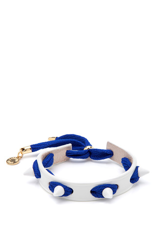 Medium caroline baggi blue punky leather shoelace and studded bracelet 6