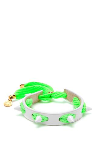 Medium caroline baggi green punky leather shoelace and studded bracelet 4