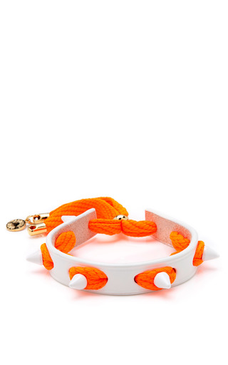 Medium caroline baggi orange studded punky leather shoelace bracelet 2