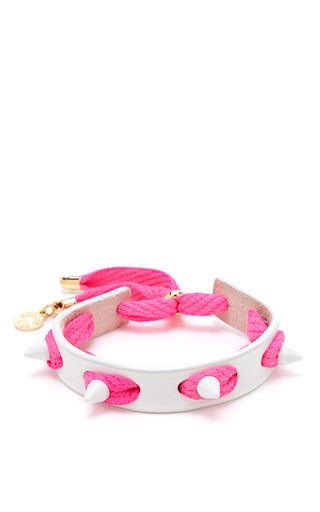 Medium caroline baggi pink punky leather shoelace and studded bracelet 5