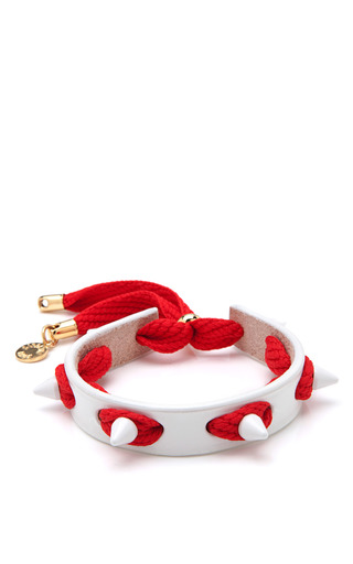 Studded Punky Leather & Shoelace  Bracelet by CAROLINE BAGGI Now Available on Moda Operandi