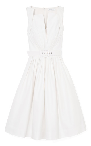Medium andrew gn white silk faille dress with self belt