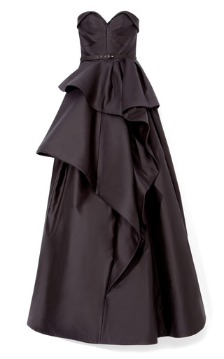 Medium andrew gn black strapless black gown with ruffle skirt